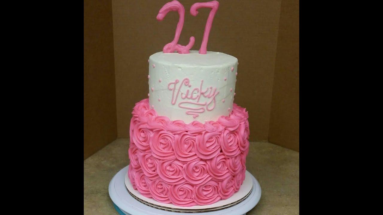 2 Tier Rosette Birthday Cake Cake Decorating