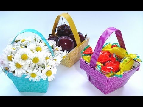 Origami Basket For Valentine Roses Youtube