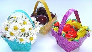 Origami Basket for Valentine Roses
