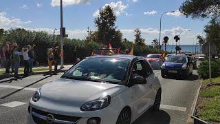 Más de 400 vehículos participan en una marcha motorizada en Palma a favor de la unidad de Españ