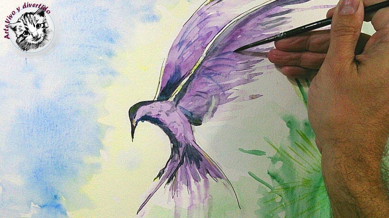 Acuarela para Principiantes: Cómo Pintar un Pájaro con Efectos - YouTube