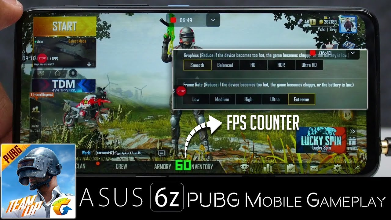 ASUS 6Z – PUBG Mobile Gameplay in Max and Smooth Extreme Settings