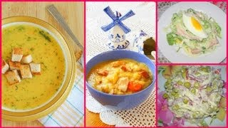 """Готовим с Тинкой(Гороховый суп с копчеными ребрышками и чесночными гренками+Салат """"Семейный"""")"""
