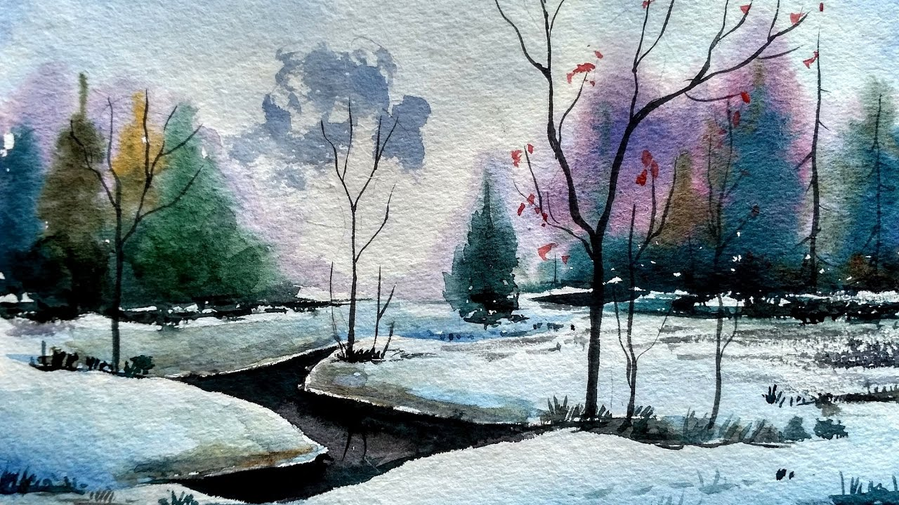 how to paint a simple landscape in watercolor paint with david youtube