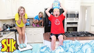 FLOOR IS FROZEN Lava Challenge Epic Dino Smashers Ice Age! SuperHeroKids Funny Family Videos