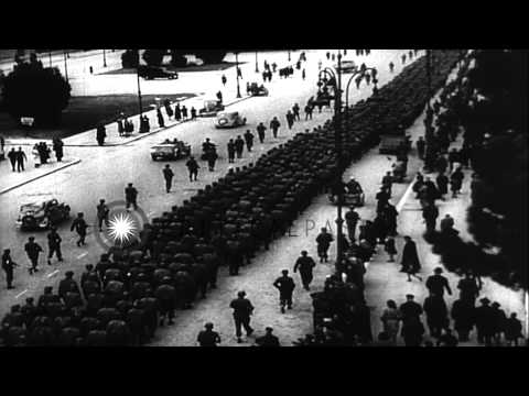 U.S. prisoners marched through Rome guarded by German soldiers in Italy during Wo...HD Stock Footage