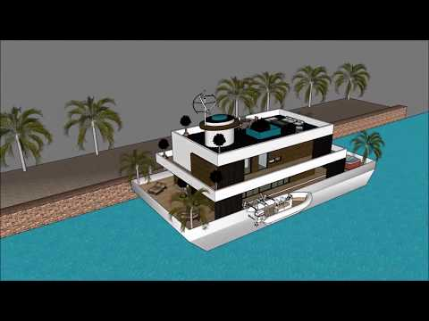 Houseboat design architect Hong Kong in China luxury floating barge project construction at sea uniq