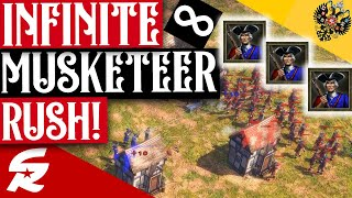 NON-STOP Musketeer Rush!! | Strategy School | Age of Empires III