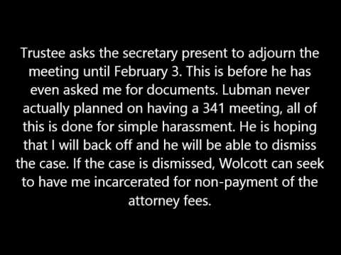 Trustee Sherman B. Lubman & Attorney Shannon Pecoraro bankruptcy meeting Part 1
