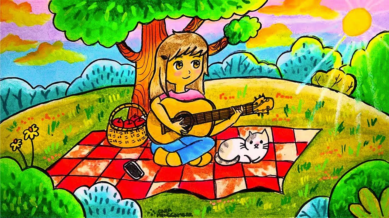 Cara Menggambar dan Mewarnai Tema Bermain Musik (Gitar) di Taman yang Bagus dan Mudah untuk Pemula