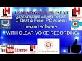3'' Best  Free PC screen'' recording software for PC in hindi .all by Learning HUb