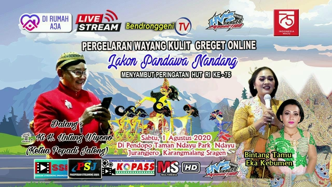 "Live Pagelaran Wayang Kulit (Ki H. Untung Wiyono ""Pandawa Laku"")   Pendopo Taman Ndayu Park Sragen"