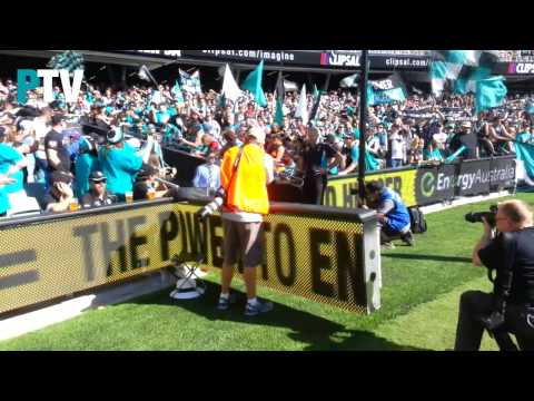 Port Adelaide team entrance at Adelaide Oval - Round 2, 2014