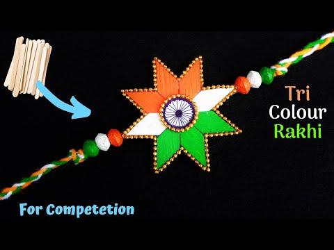 DIY : Indian Tricolour Rakhi with Icecream sticks | Rakhi making for competition 2019