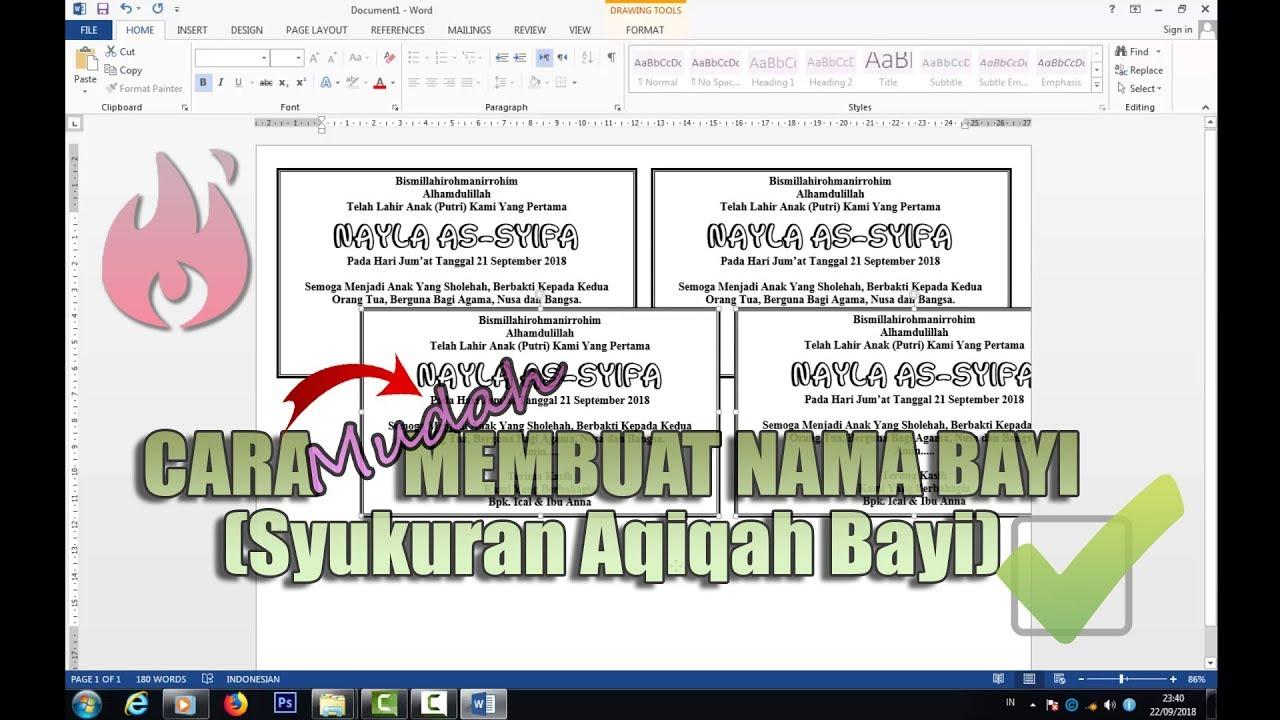 Cara Membuat Nama Bayi Syukuran Aqiqah Bayi Di Ms Word Youtube