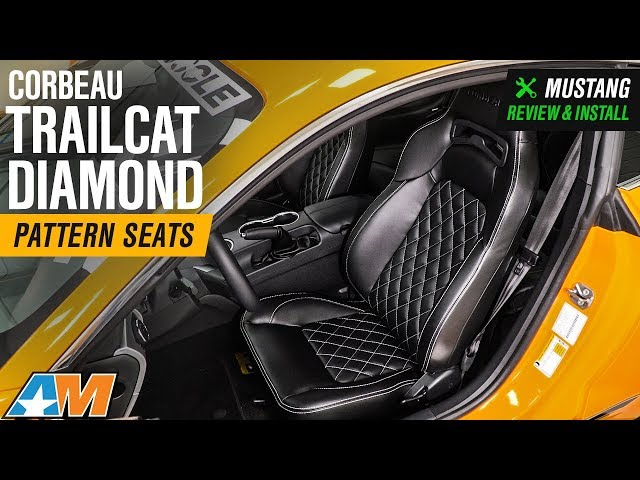 1979-2018 Mustang Corbeau Trailcat Diamond Pattern Seats - White Stitching - Pair Review & Install
