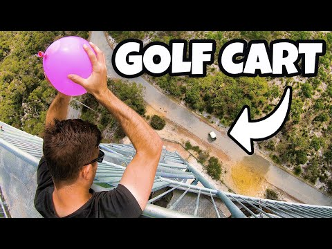 DODGING WATER BALLOONS in GOLF CART from 45m!