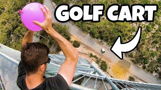 DODGING WATER BALLOONS in GOLF CART from 45m!...