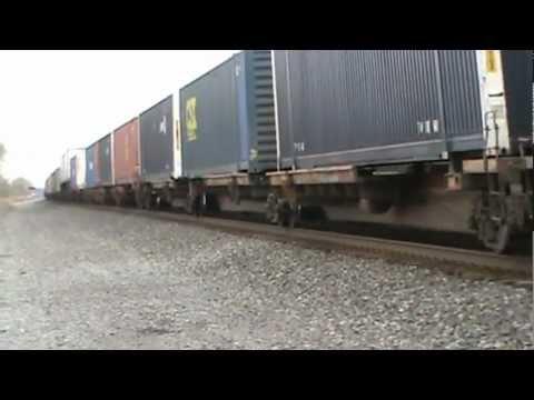 Two CSX freight trains cruising through Bergen, New York