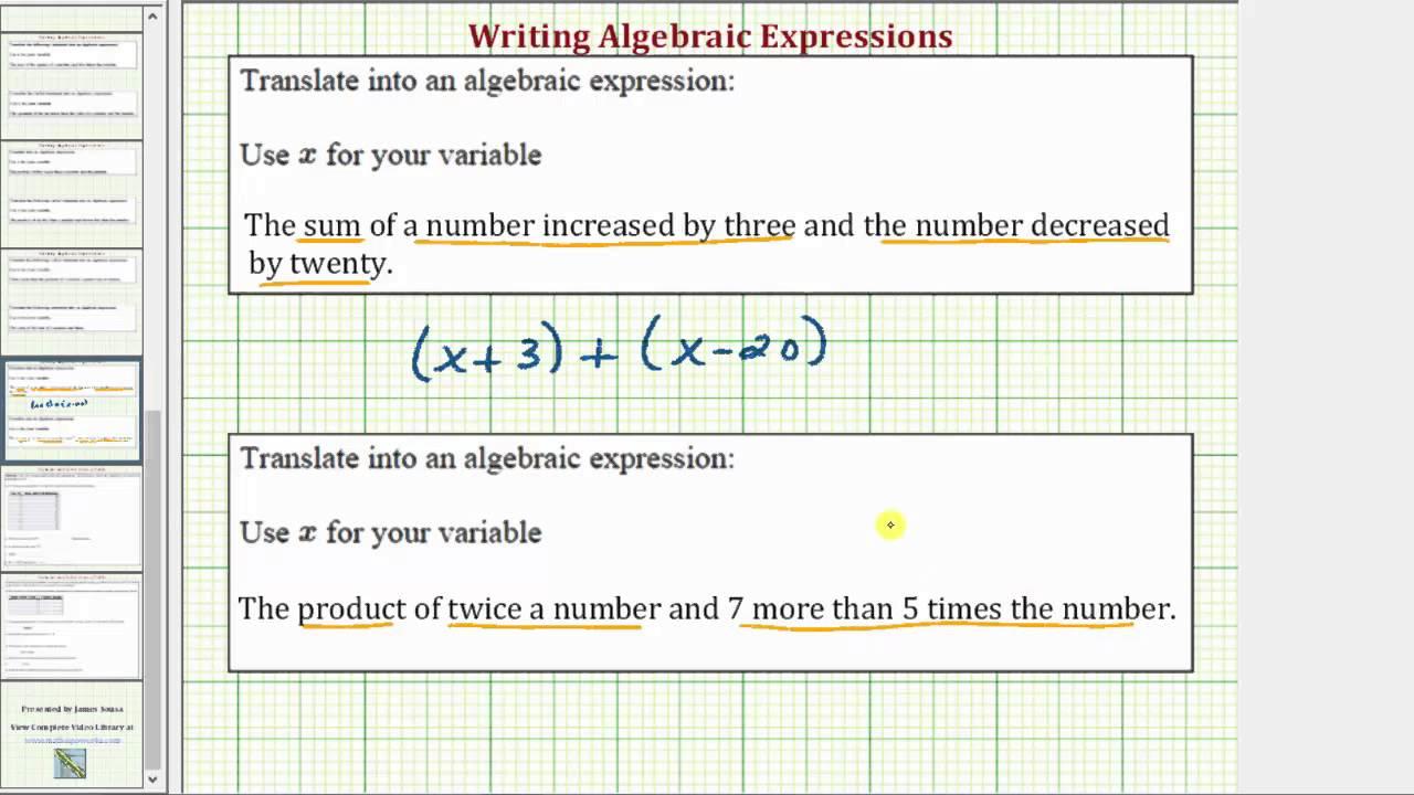 Ex: Write a Algebraic Expression in the Form (x+a)+(x-b) and ax(bx ...