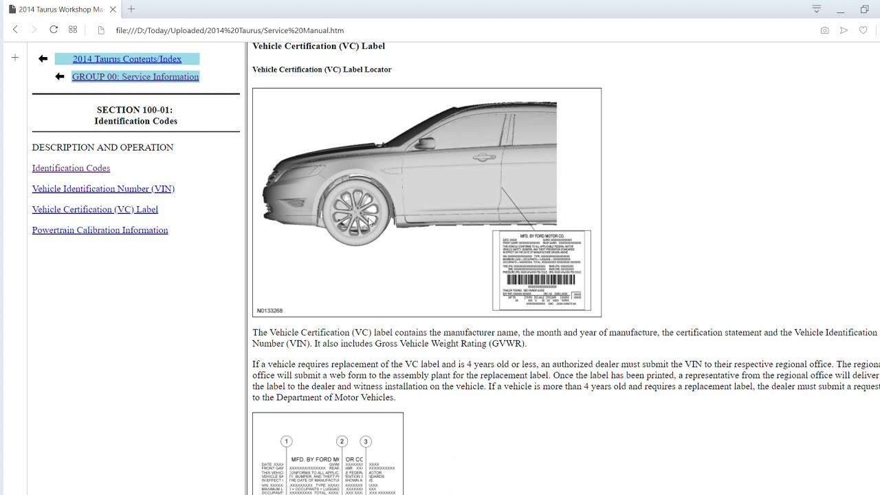 2014 Ford Taurus Workshop Manual Wiring Diagrams Get Free