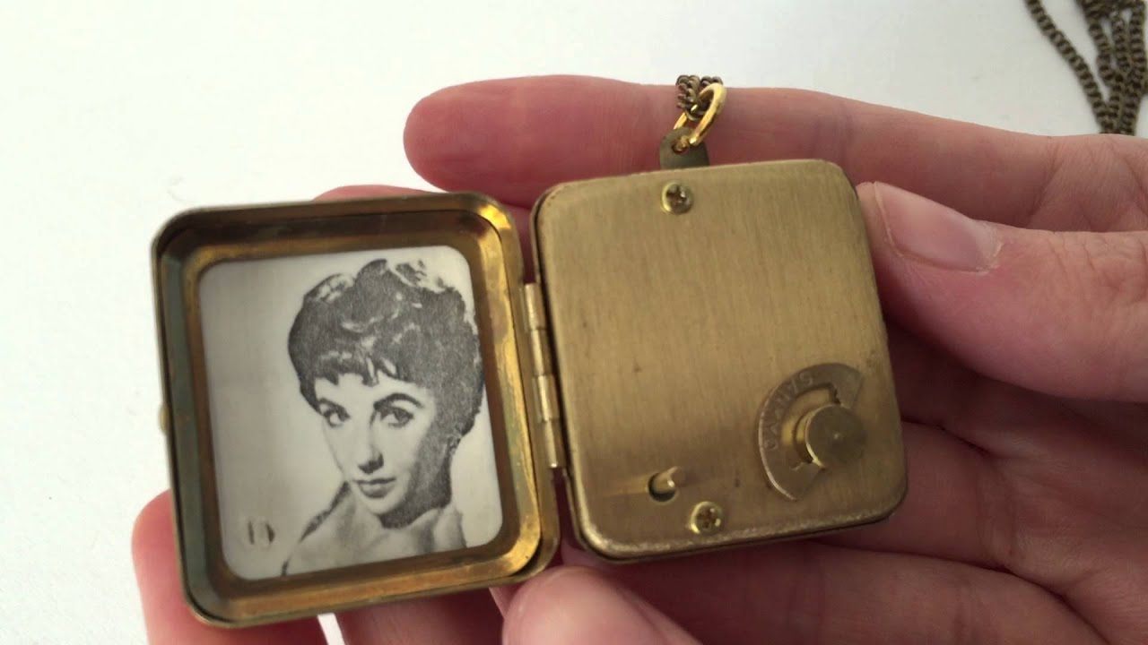 Vintage miniature music box pendant necklace and photo locket vintage miniature music box pendant necklace and photo locket personalized gift aloadofball Image collections