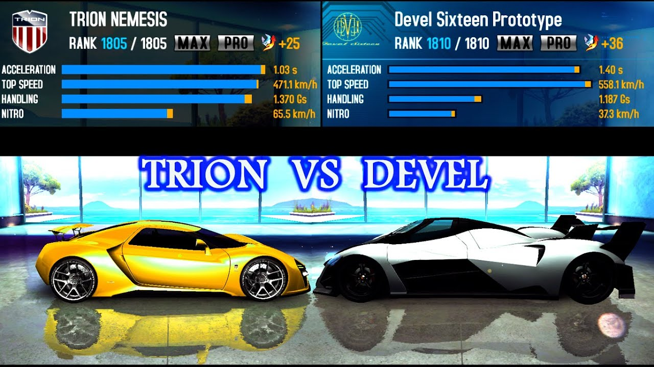 Asphalt 8 Airborne Devel Sixteen Vs Trion Nemesis Youtube