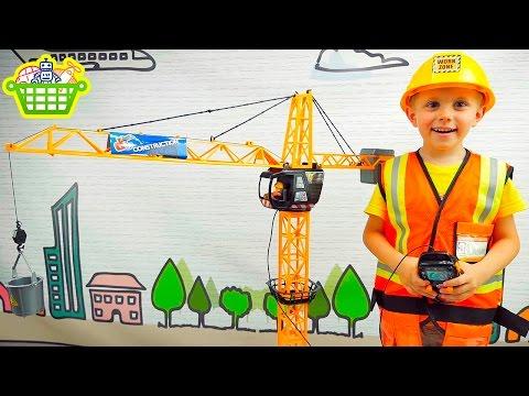 Башенный подъёмный кран на пультуправлении / Игрушки для мальчиков на канале Корзина Игрушек смотреть в хорошем качестве