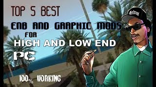 GTA San Andreas Best 5 enbs and graphic mods for low end pc || how to install enb ||
