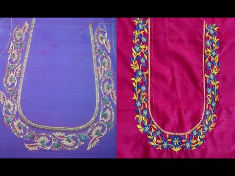 Daily Wear Simple Embroidery Work Blouse Neck Designs For Silk Saree| Blouse Designs For Silk Saree