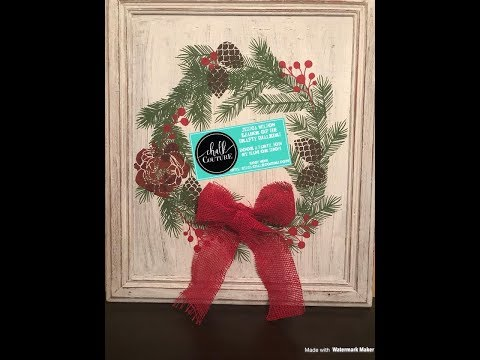 "Chalk Couture Demo- ""Chalk The Halls"" Transfer Wreath on Cabinet Door"