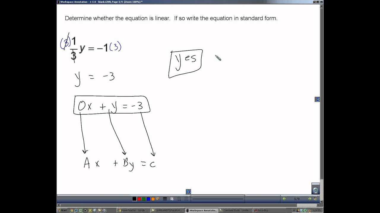 Section 4 5 a identify linear equations youtube falaconquin