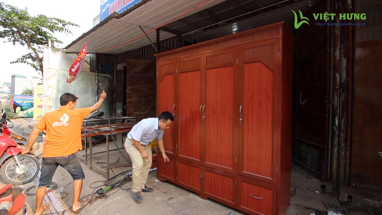 Tủ quần áo nhôm kính giả gỗ đẹp thiết kế 4 buồng 2 tầng