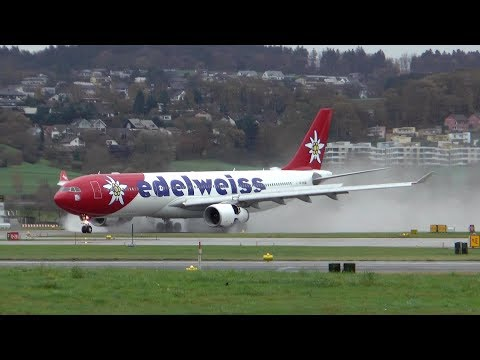 1 HOUR ACTION SPOTTING at Zurich Airport on a wet and stormy day