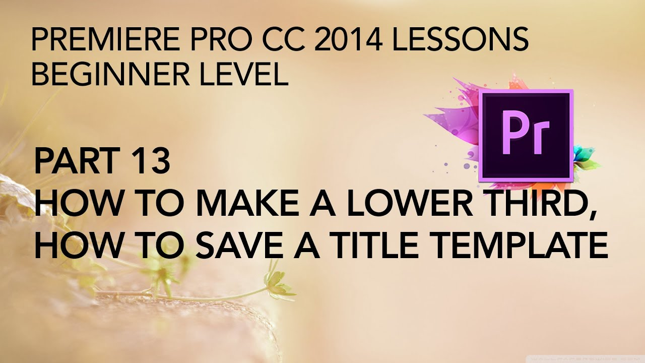 Adobe Premiere Pro CC 2014 Lessons - Part 13 - Lower Thirds and ...