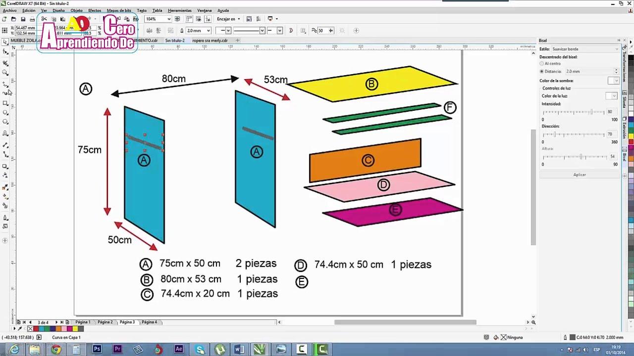 Plano de escritorio basico de melamina youtube for Planos de melamina