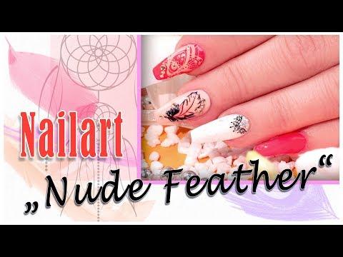 "Nailart: ""Nude Feather"" mit neuem Jolifin Trend Tattoo und LAVENI Farbgel nude-peach"