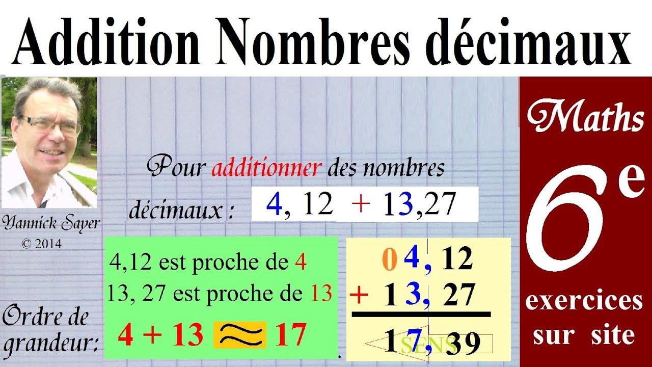 Maths 6ème | Additionner les nombres décimaux + exercices ...