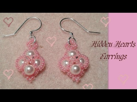 Hidden Hearts Earrings Beading Tutorial by HoneyBeads1 (Valentine's or prom earrings with pearls)
