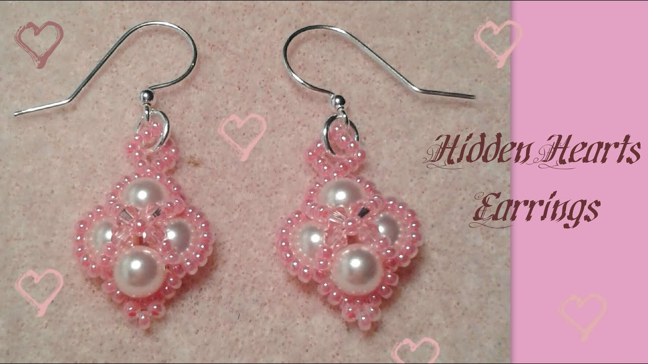 Hidden Hearts Earrings Beading Tutorial by HoneyBeads1 ...
