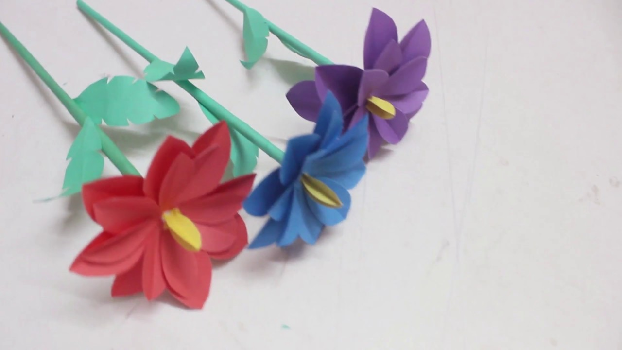 How To Make Beautiful Paper Rose Stick Flower Making Paper Flowers