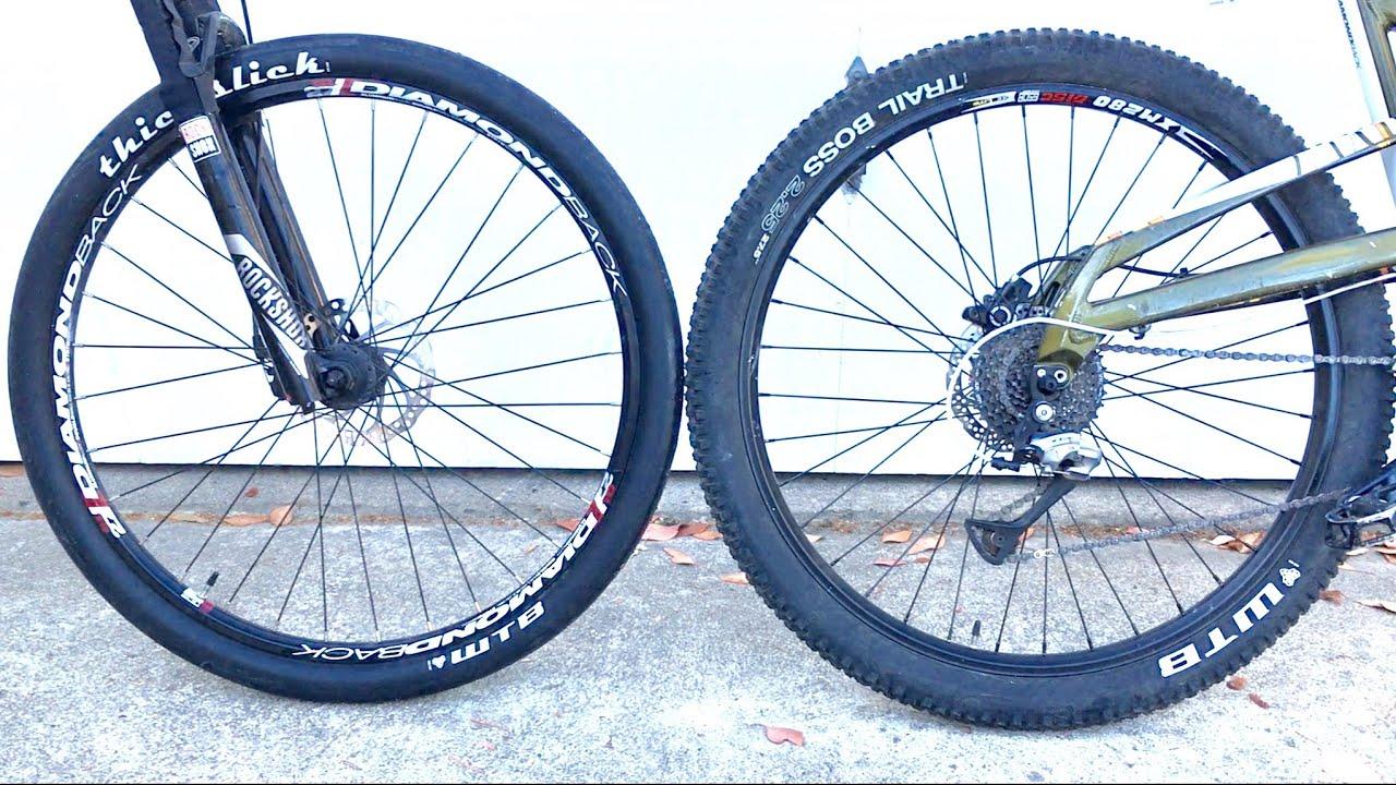 Slick Road Tires On A Mountain Bike Youtube