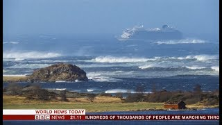 'Viking Sky' cruise sky roller coaster (Norwegian Coast) - BBC News - 23rd March 2019