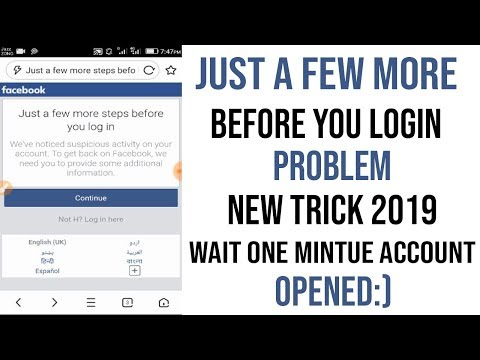 Just A Few More Steps Before You Login Facebook Problem Fixed 2020