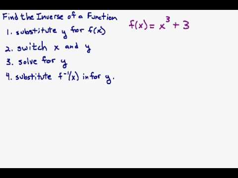 Find The Inverse Of A Cubic Function Youtube
