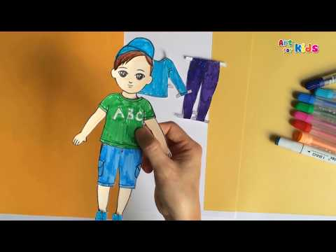 How to make paper doll boy | How to draw clothes for doll with paper | Art for kids