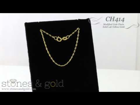 Modified Solid 14K Yellow Gold Link Chain Necklace | CH414.Y