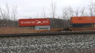 CSX Train Q157 Entering The West Shore in Fairport, NY 3-25-16