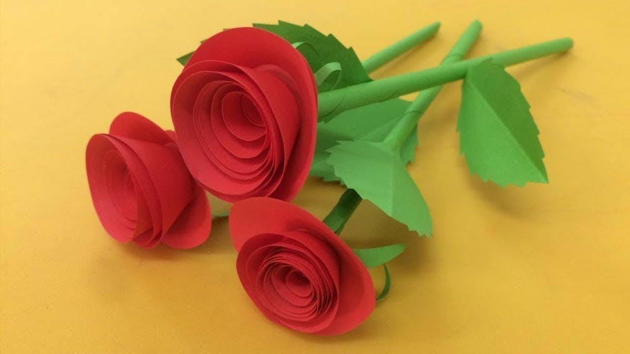 Cách làm HOA HỒNG BẰNG GIẤY MÀU cực kỳ đơn giản | Cách làm hoa giấy | Tư liệu mầm non