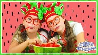 WATERMELON POOL SLUSHIE - Healthy kids frozen smoothie recipe - Crafty Kingdom BTS ep 4